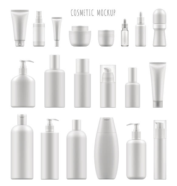 mock-up of cosmetic package Set vector blank templates of empty and clean white plastic containers: bottles with spray, dispenser and dropper, cream jar, tube. Realistic 3d mock-up of cosmetic package. bottle stock illustrations