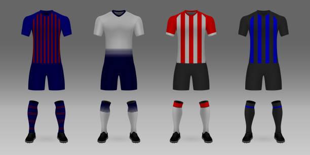 stockillustraties, clipart, cartoons en iconen met mockup van uniforme voetbalelftal - eindhoven
