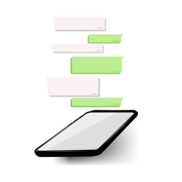 mockup of phone with mobile messenger on screen, inspired by whatsapp and other similar apps. modern design. - whatsapp stock illustrations