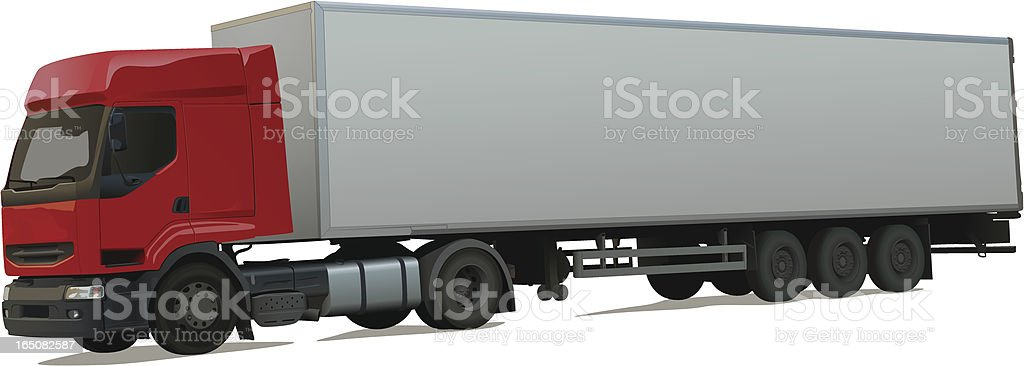 Mockup of red and white long truck royalty-free stock vector art