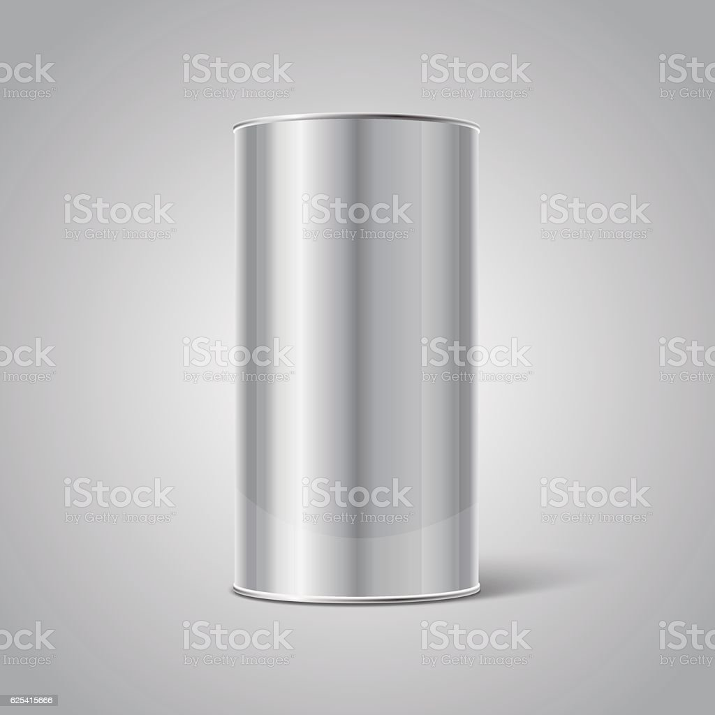 Mockup of Stainless steel Blank Tin Can packaging vector art illustration