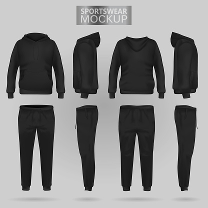 Mockup of the Black sportswear hoodie and trousers in four dimensions