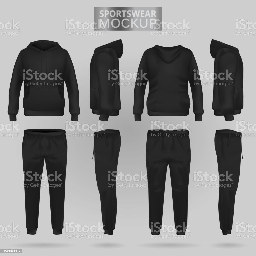 Mockup of the Black sportswear hoodie and trousers in four dimensions vector art illustration