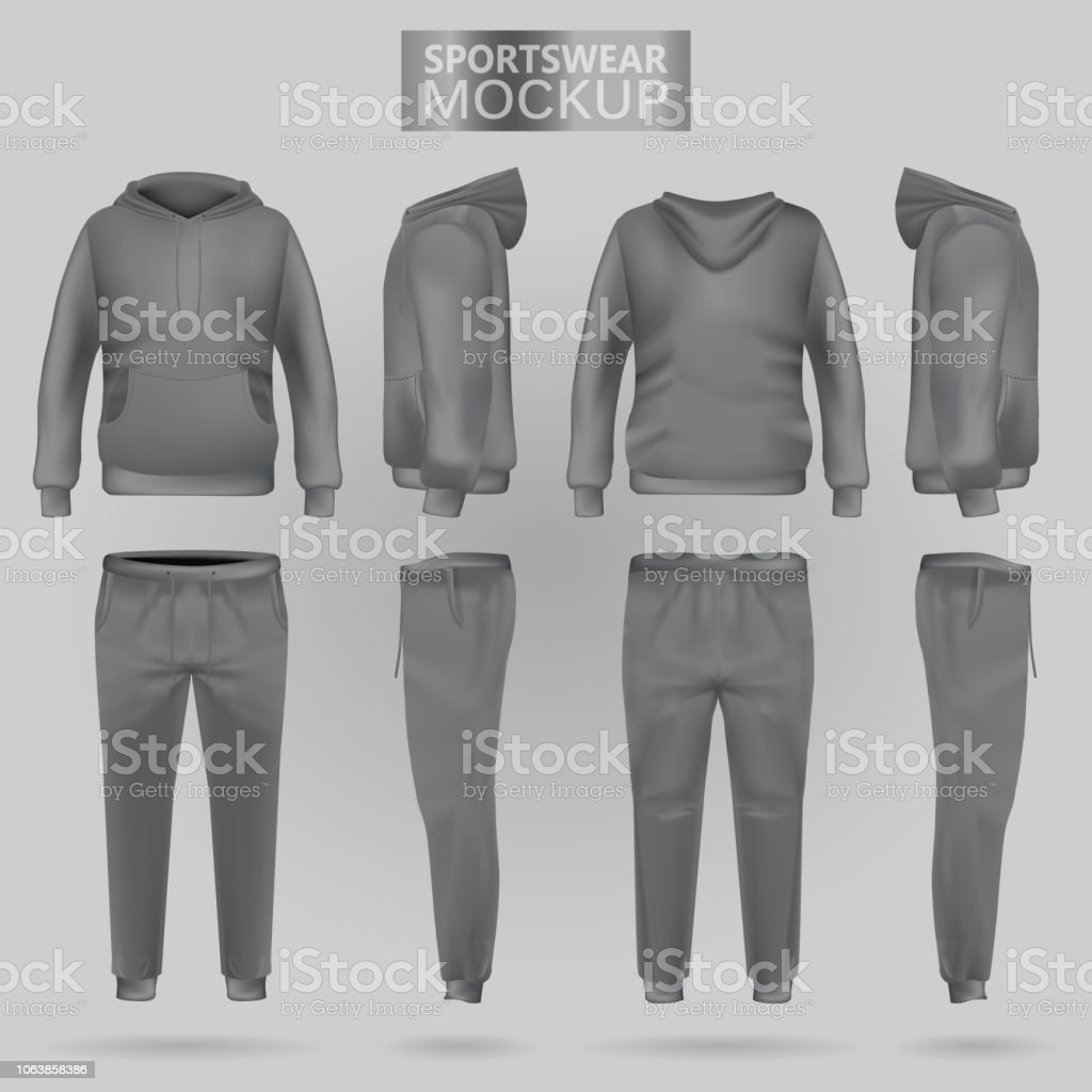 Mockup of the grey sportswear hoodie and trousers in four dimensions vector art illustration