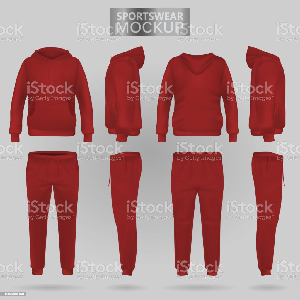 Mockup of the red sportswear hoodie and trousers in four dimensions vector art illustration