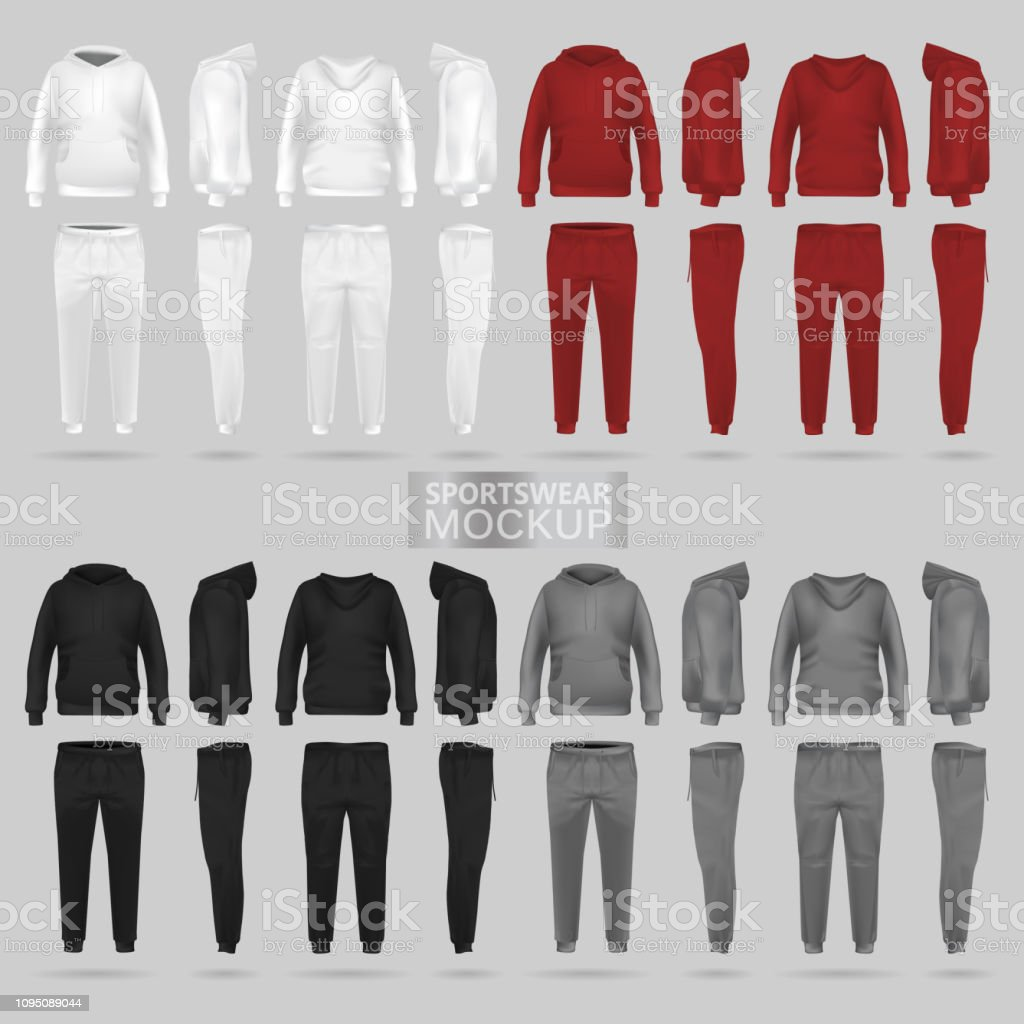 Mockup of the sportswear hoodie and trousers in four dimensions vector art illustration