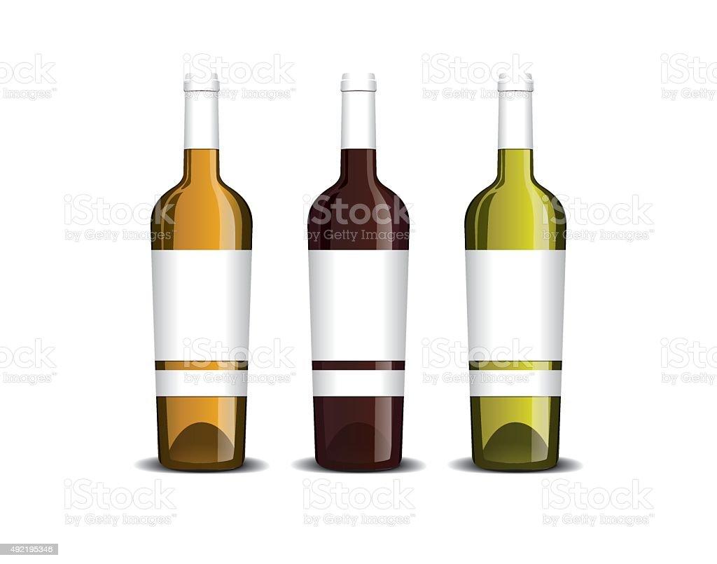 Mockup of the wine bottle with label vector art illustration