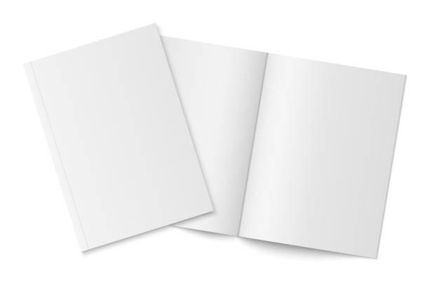 makieta dwóch cienkich książek z miękką okładką izolowana. - broszura stock illustrations