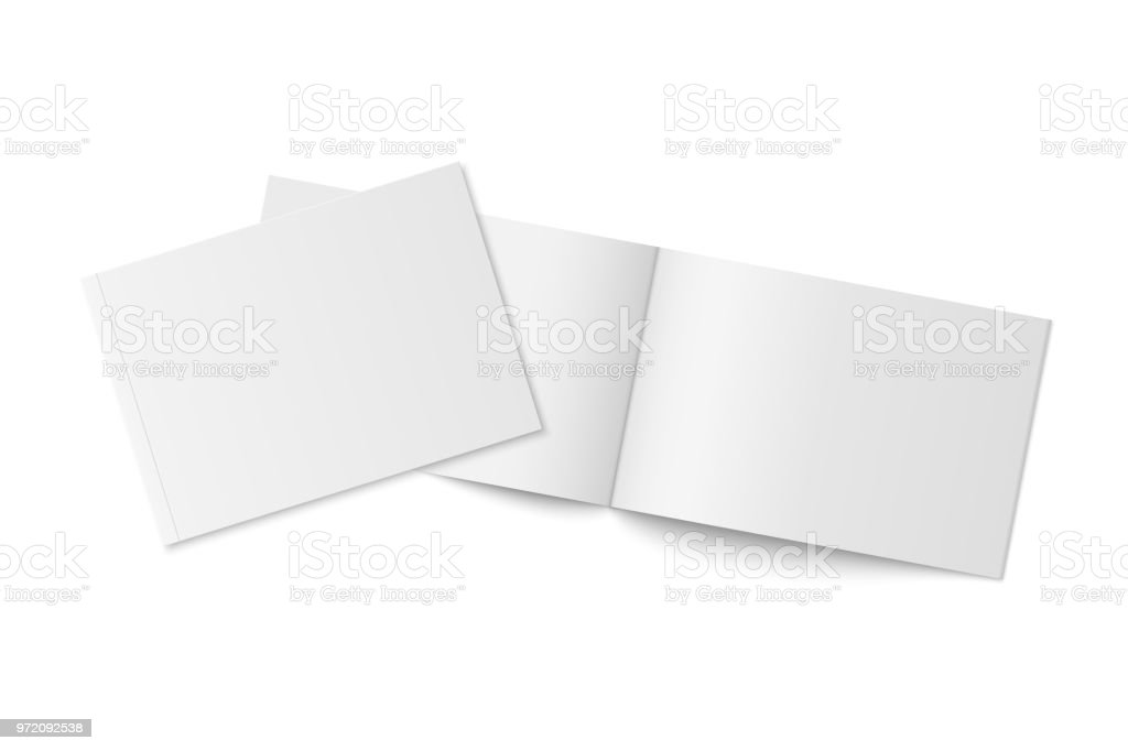 Mockup of two thin books with soft cover isolated. vector art illustration