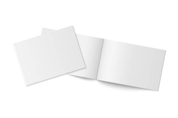 mockup of two thin books with soft cover isolated. - brochure templates stock illustrations, clip art, cartoons, & icons