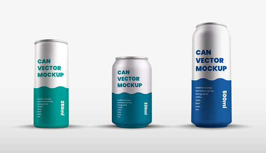 Mockup of vector tin cans with presentation of color design, aluminum water bottle.