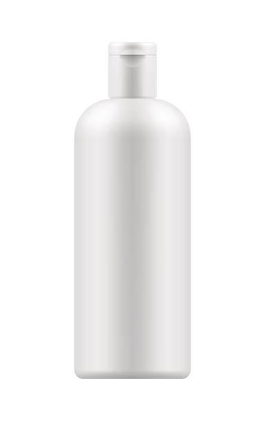 mock-up des weißen kunststoff-flasche - shampoos stock-grafiken, -clipart, -cartoons und -symbole
