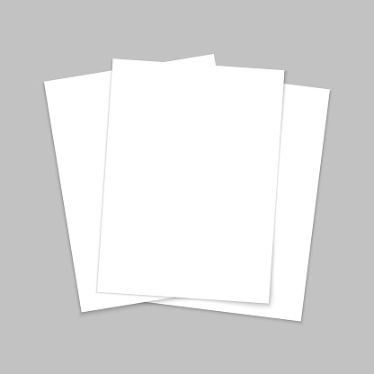 Mockup paper. Blank template of leaflet. A4 cover and flyer. Stack of white sheets. Page for brochure and postcard. Mock of document with shadow. Three letters in front for booklet and book. Vector