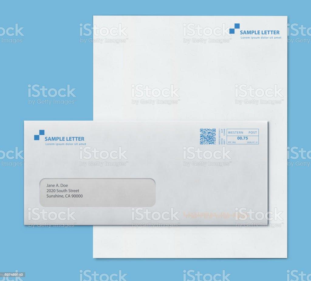 Mockup post envelope and letter paper template vector art illustration