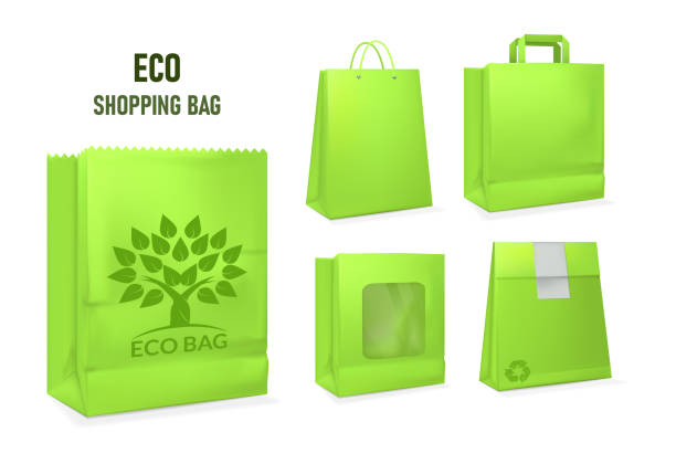 illustrazioni stock, clip art, cartoni animati e icone di tendenza di mockup realistic paper eco package bag templates. - box name