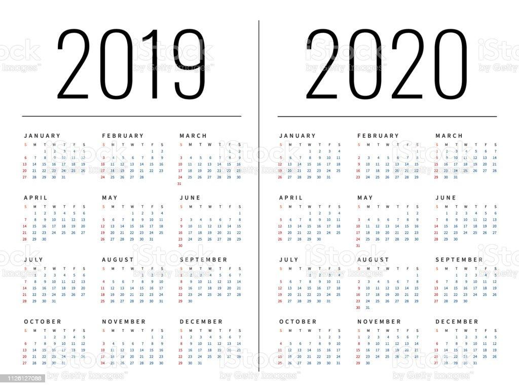 Calendario 2020 Y 2019.Ilustracion De Maqueta Simple Calendario Diseno Anos 2019 Y 2020 La