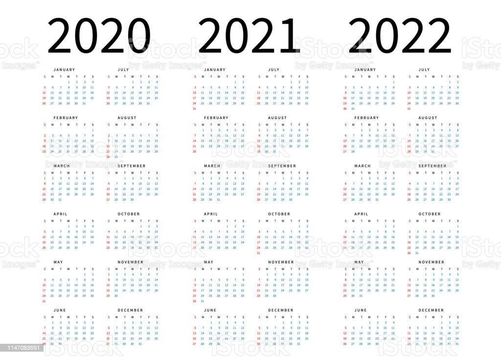 Maquette Calendrier Simple Mise En Page Pour 2020 2021 Et 2022 Ans