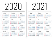 Mockup Simple calendar Layout for 2020 year. Week starts from Sunday.