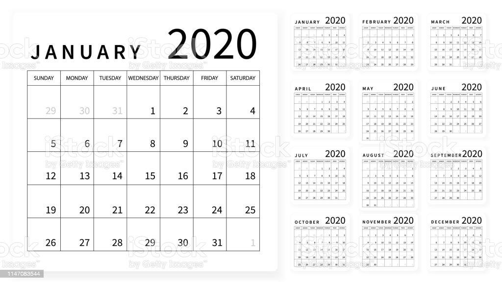 Ano 2020 Calendario.Vetores De Mockup Layout Calendario Simples Para 2020 Ano Semana Comeca A Partir De Domingo E Mais Imagens De 2020