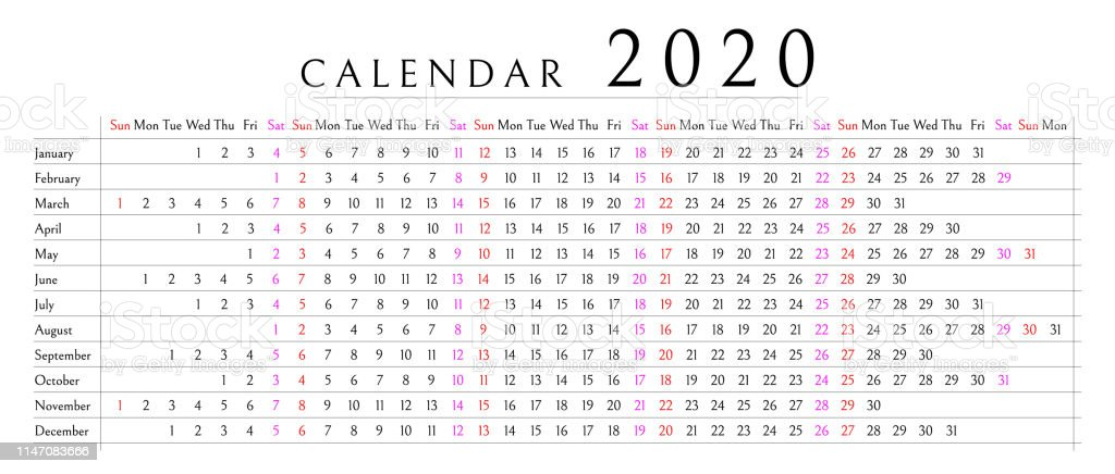 2020 Annual Calendar.Mockup Simple Calendar Layout For 2020 Year Week Starts From Sunday
