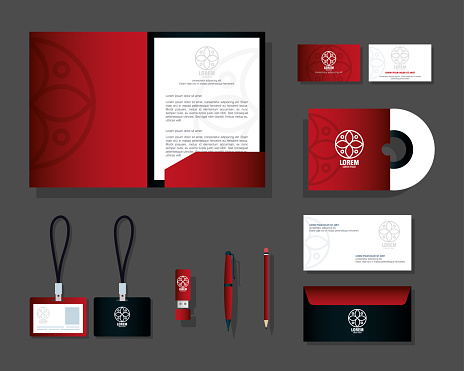 mockup stationery supplies color red with sign white, brand mockup corporate identity