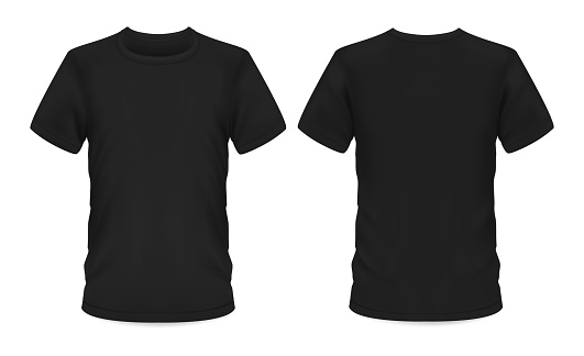 Mockup template, men black t-shirt short sleeve