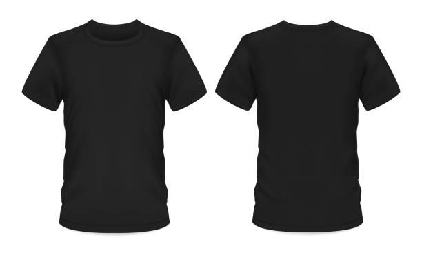 szablon makiety, męski czarny t-shirt z krótkim rękawem - plecy stock illustrations