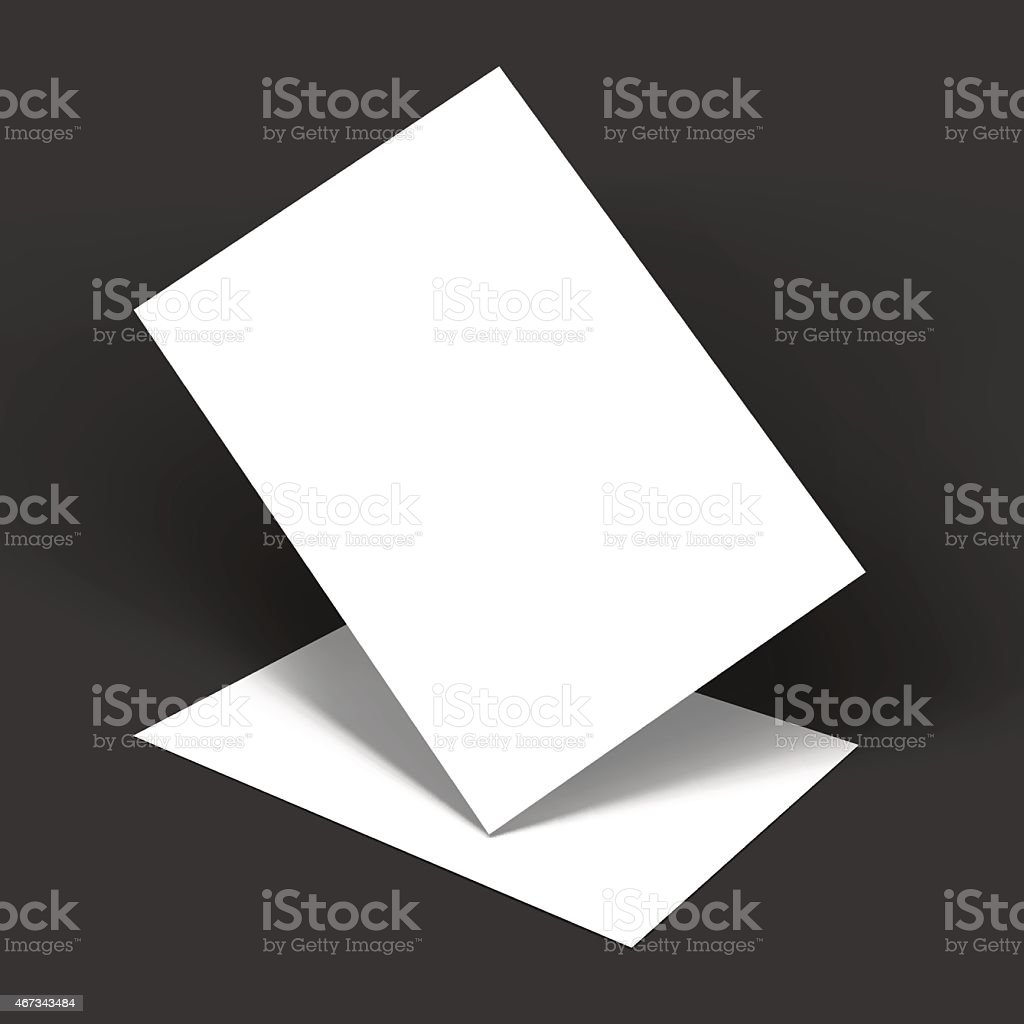 Mockup template of two white papers vector art illustration