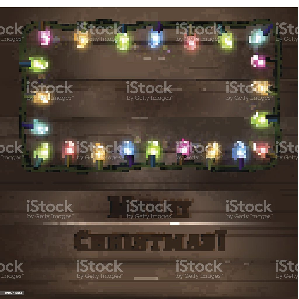 Mockup template of wooden board with Christmas lights royalty-free stock vector art