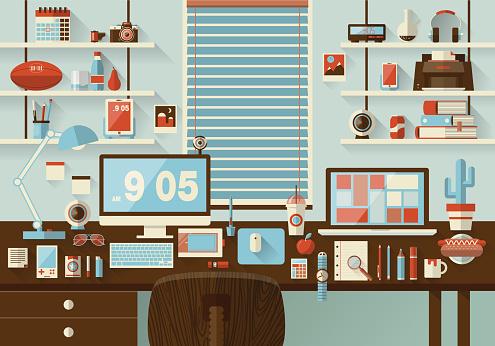 Mockup vector design of modern office interior