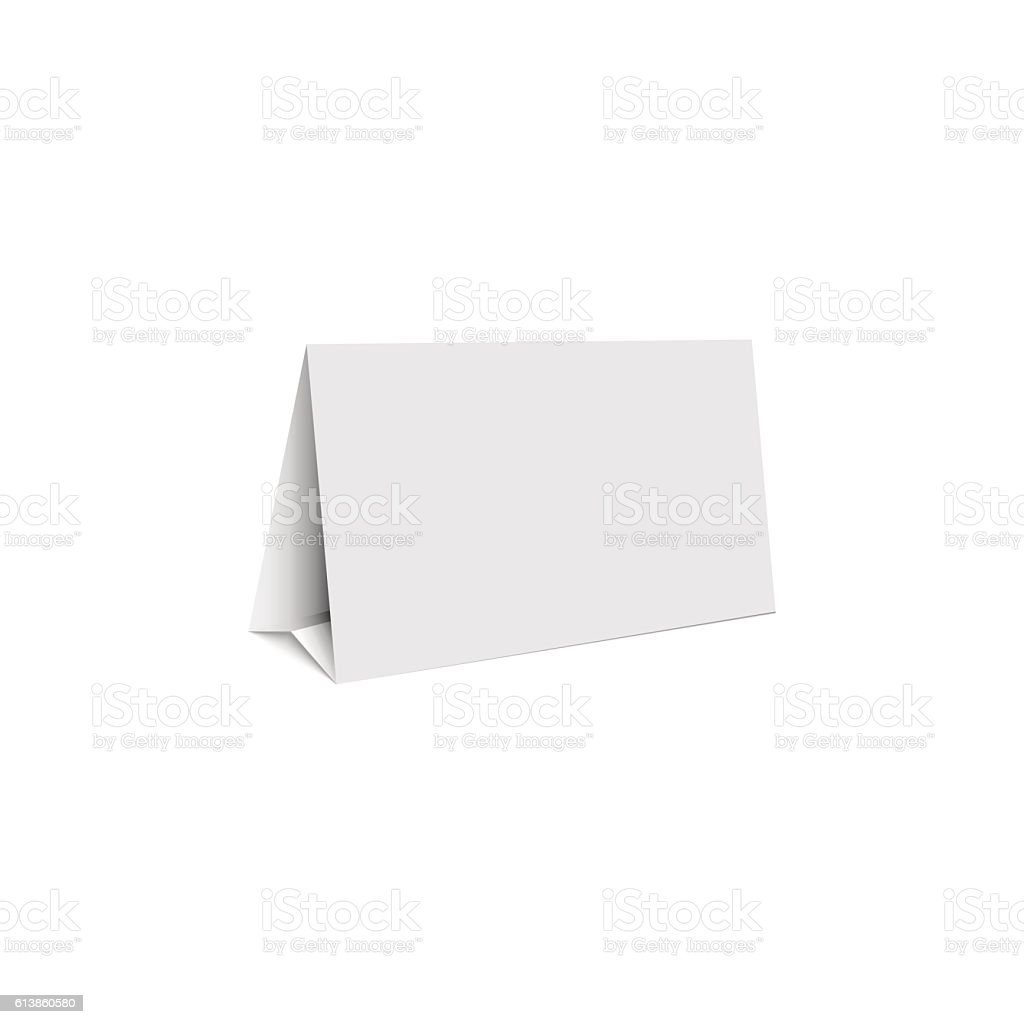 Mockup white blank promotion banner holder, isolated table stand vector art illustration