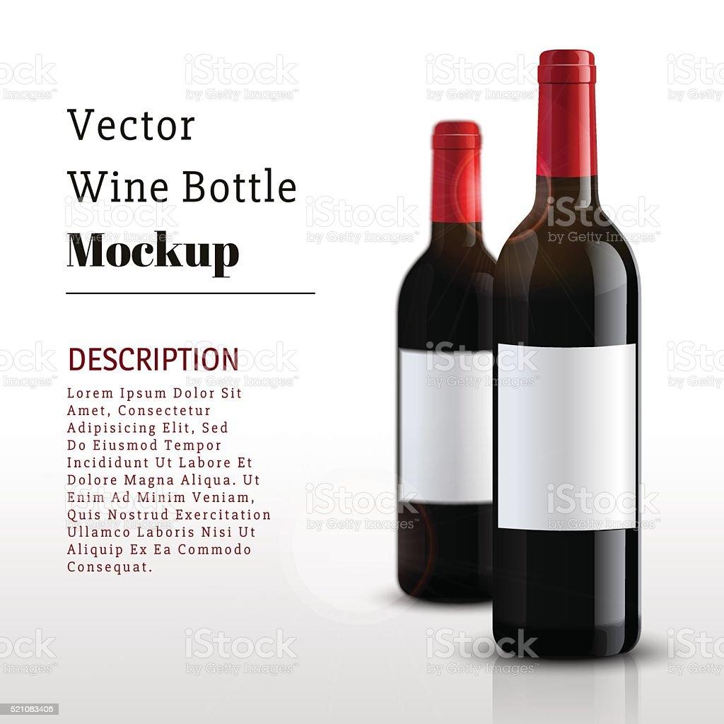 Mockup wine bottle. vector design. vector art illustration