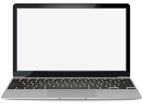 mockup with blank screen - front view.Open laptop with blank screen isolated on background - vector illustration. clipart