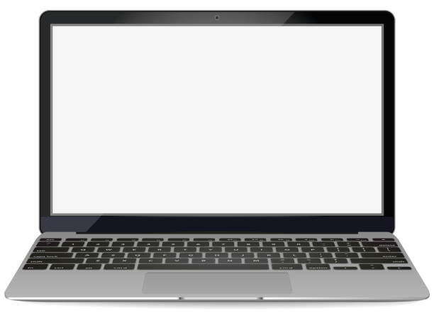 mockup with blank screen - front view.Open laptop with blank screen isolated on background - vector illustration. mockup with blank screen - front view.Open laptop with blank screen isolated on background - vector illustration computer screen stock illustrations
