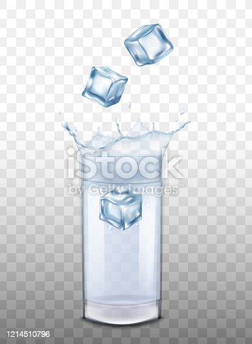 istock Mockup with ice cubes in glass of water realistic vector illustration isolated. 1214510796
