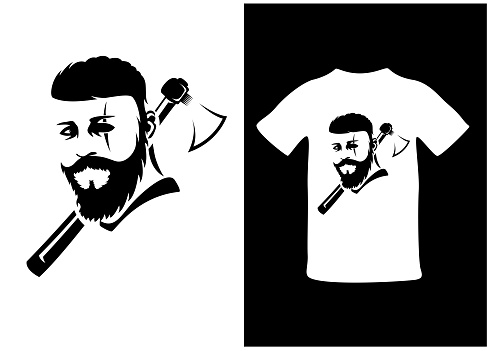 Mockup with t-shirt print of a bearded one-eyed viking warrior with an ax. Scandinavian nordic print for t-shirt. Vector illustration