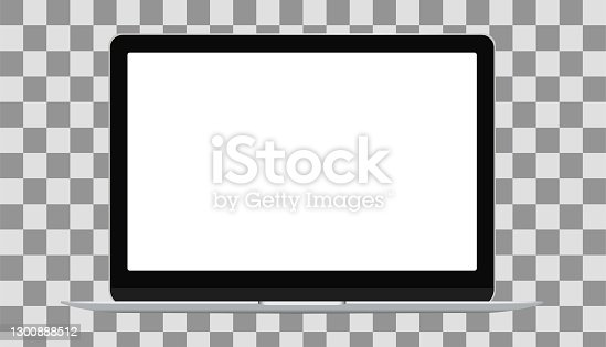 istock Mockup.Modern laptop mockup front view, isolated on transparent background. 1300888512