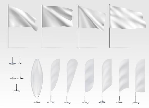 Mockups of white flags, banner flags vector art illustration