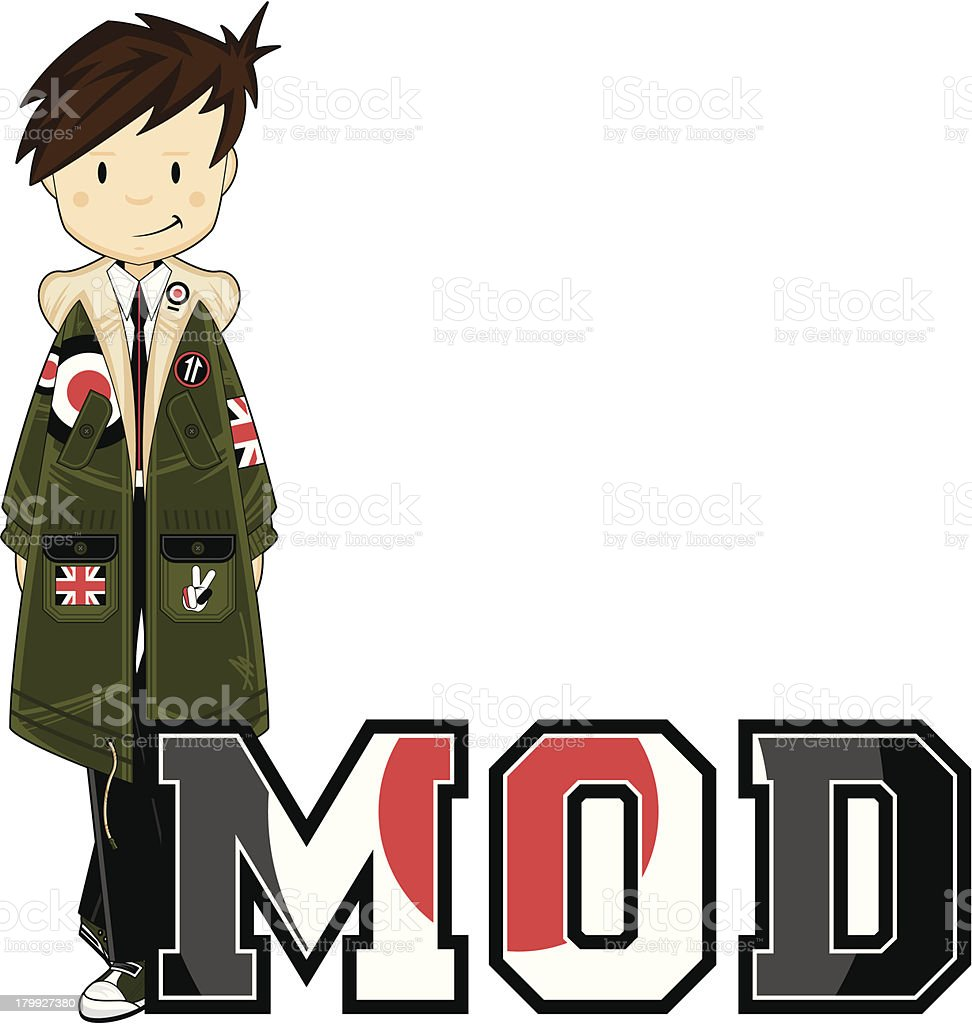 Mod Boy Learn to Read Illustration royalty-free stock vector art