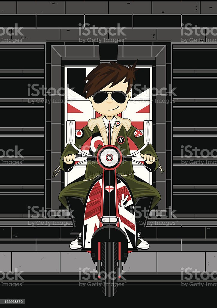 Mod Boy on Retro Scooter royalty-free stock vector art