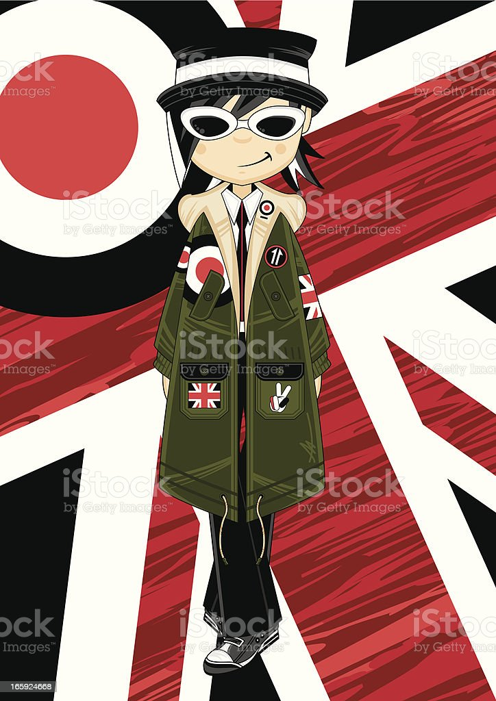 Mod Girl in Parka Jacket vector art illustration