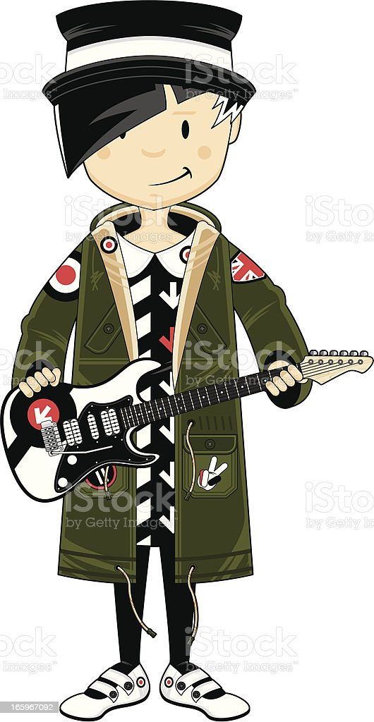 Mod Girl in Parka with Guitar royalty-free stock vector art