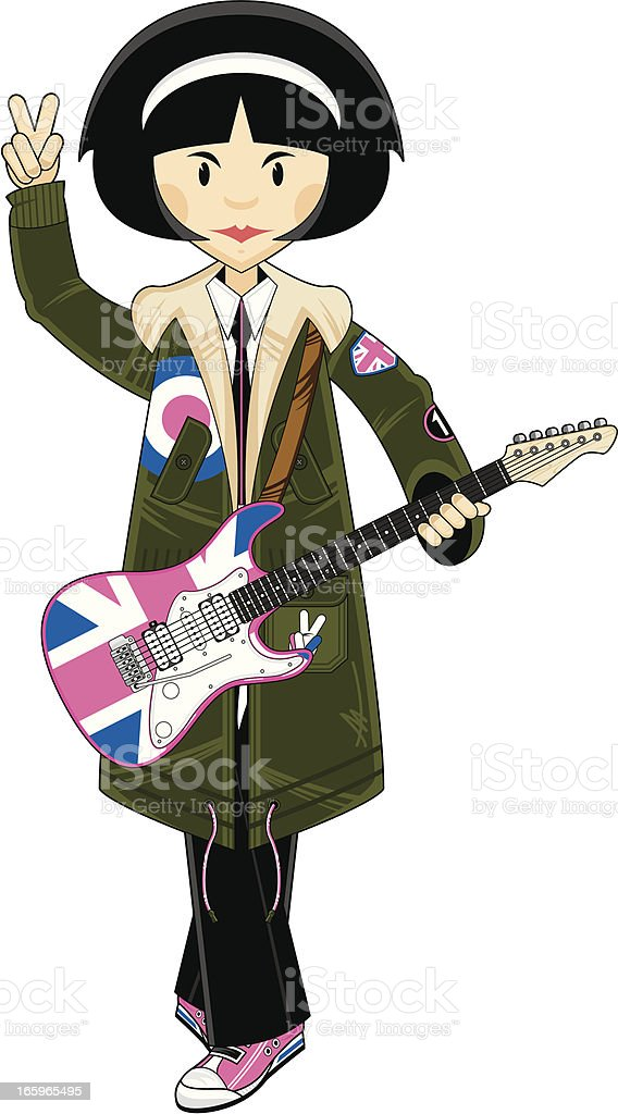 Mod Girl in Parka with Union Jack Guitar royalty-free stock vector art