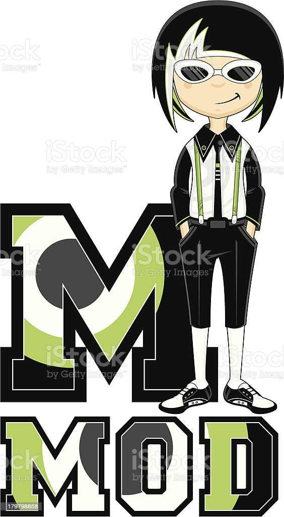 Mod Girl in Shades Learning Letter M royalty-free stock vector art