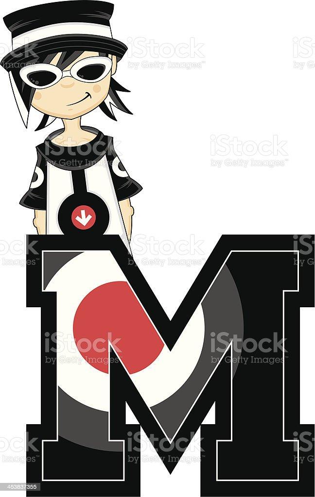 Mod Girl in Shades Learning Letter M vector art illustration