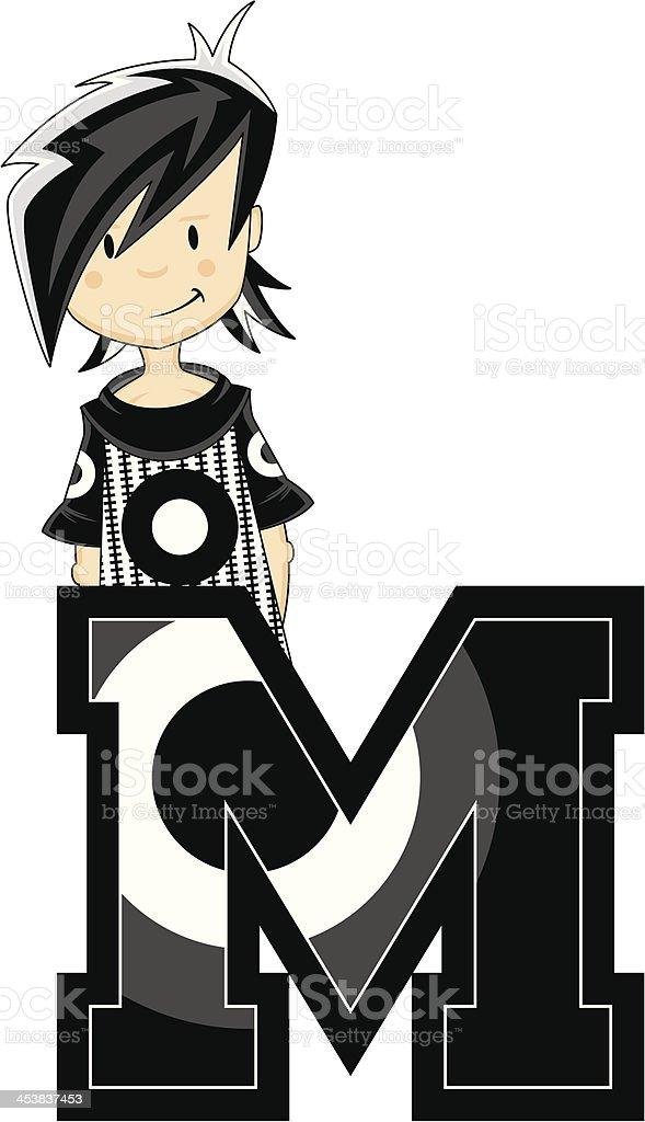 Mod Girl Learning Letter M royalty-free stock vector art