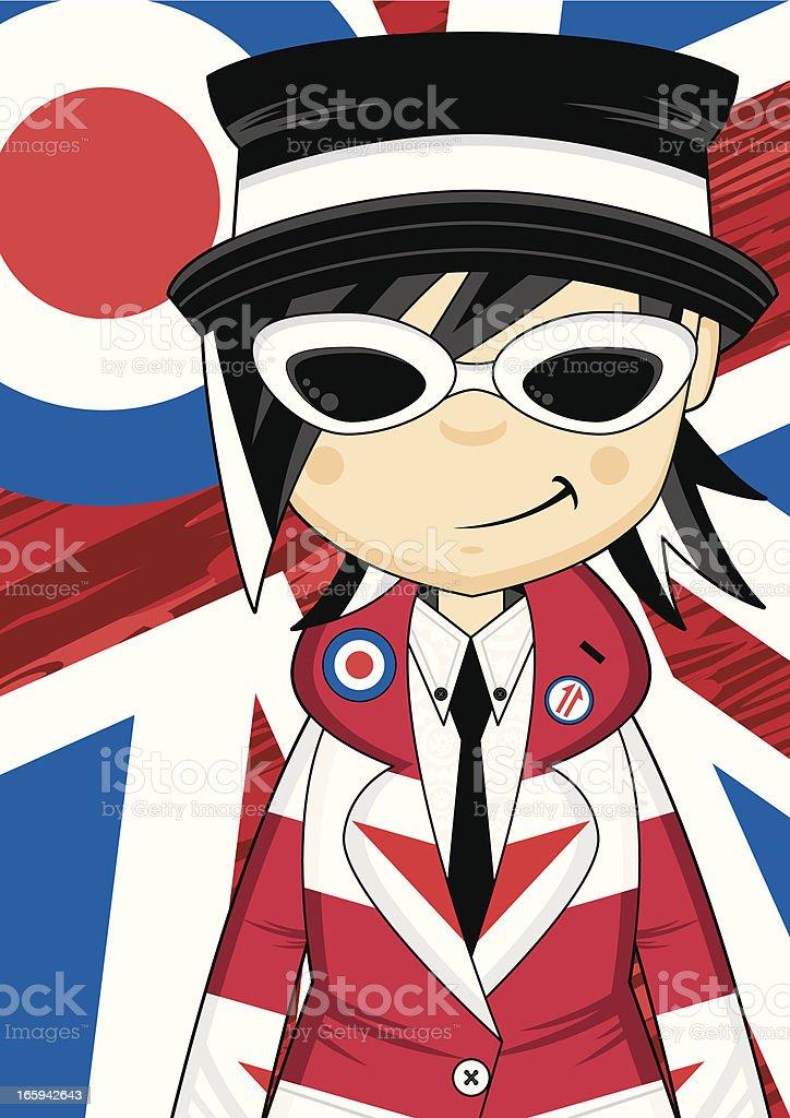 Mod Girl on Union Jack Background vector art illustration