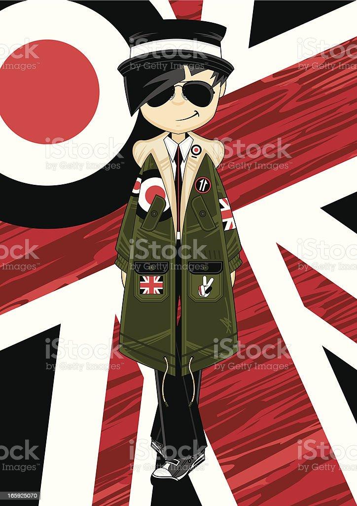 Mod Girl wearing Parka Jacket vector art illustration