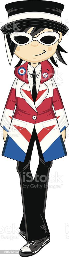 Mod Girl wearing Union Jack Jacket vector art illustration