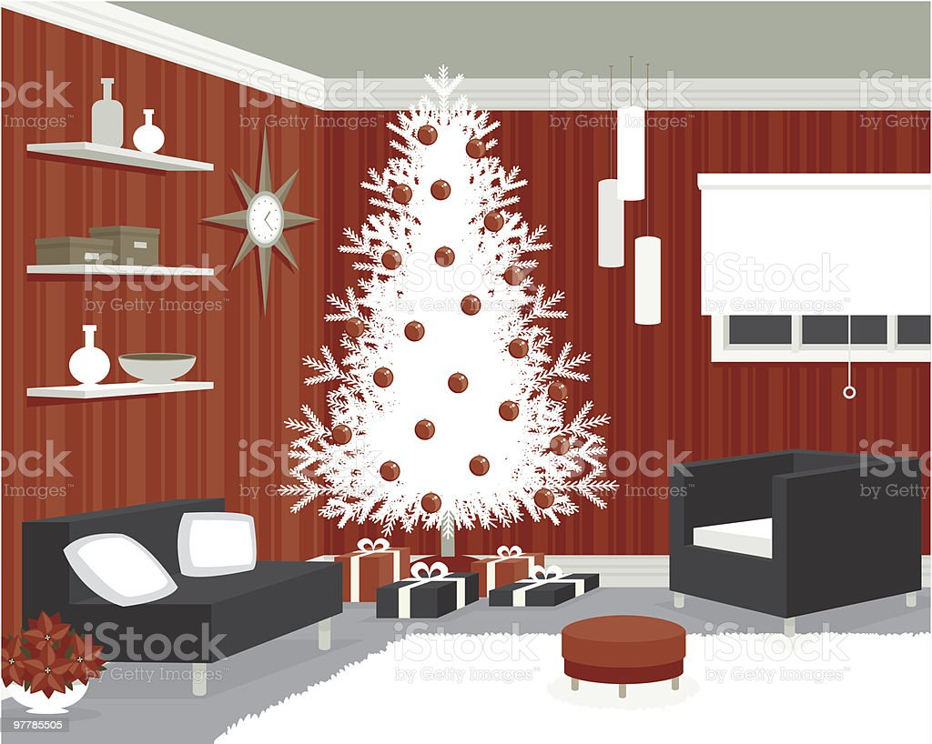 Mod Room Decorated for Christmas vector art illustration